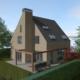 Markante schoorsteen met terrasoverkapping